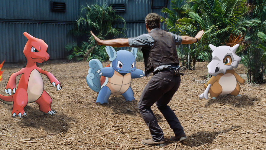 Charmeleon Wartortle and Cubone in Jurassic World