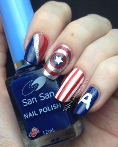 Nail Art-nerd-capitan-america